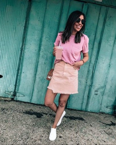 peach denim high waist skirt, pocket tee, casual spring and summer .
