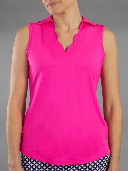 Napa Fluorescent Pink JoFit Ladies & Plus Size Scallop Sleeveless .