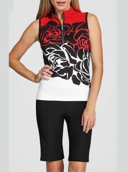 Tail Activewear Red Rose Womens Black and Rose Printed Sleeveless .