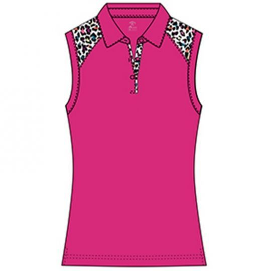 Monterey Club Ladies Leopard Colorblock Sleeveless Golf Shirts .