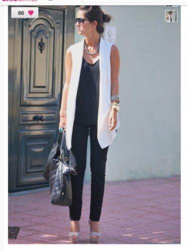Zara Off White Cream Tuxedo Vest Sleeveless Jacket Blazer (With .