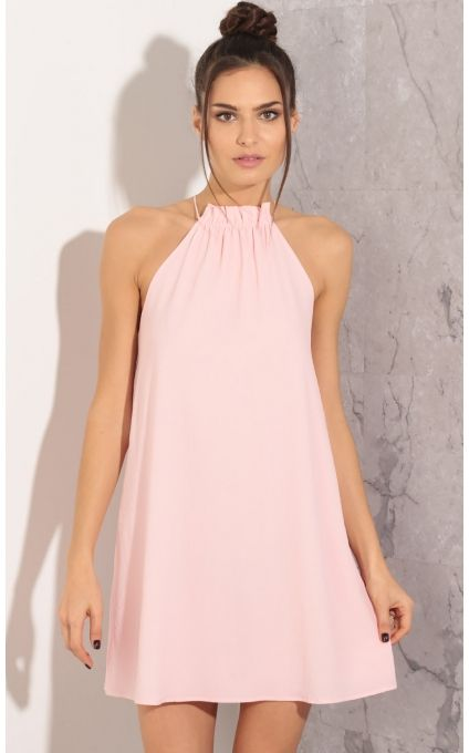 Party dresses > Gathered Halter Shift Dress In Light Pink | Shift .