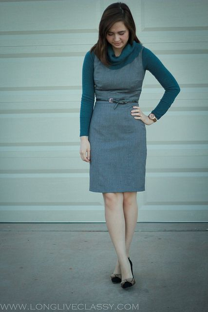 Work outfit: Layer a long sleeve shirt under a sleeveless sheath .
