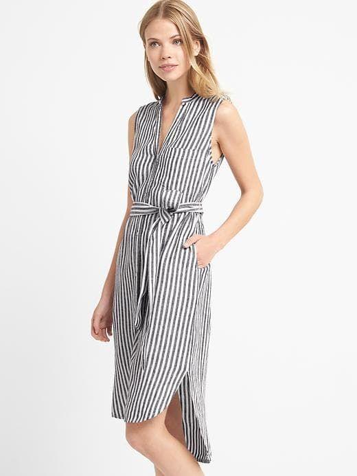 Gap Womens Linen Sleeveless Stripe Shirtdress White Stripe Size .