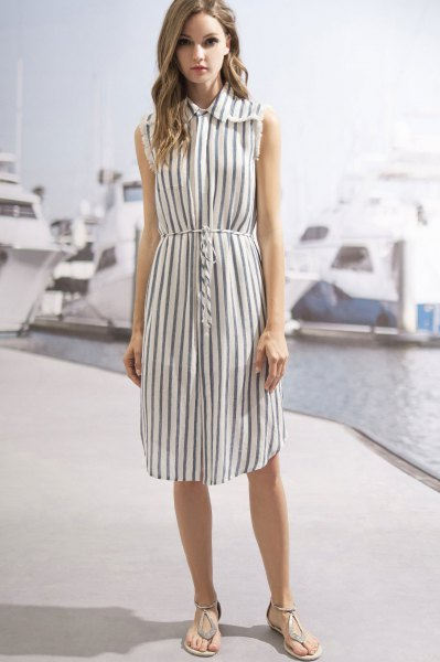 How to Style Sleeveless Shirt Dress: 15 Amazing Outfits - FMag.c
