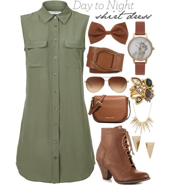 Olive green shirt dresses | HOWTOWEAR Fashi