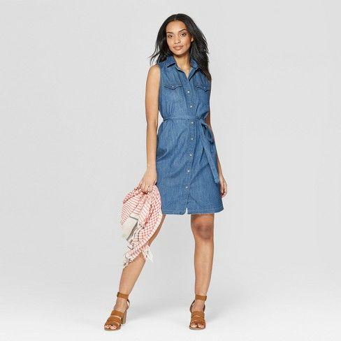 Women's Sleeveless Western Denim Shirtdress - Universal Thread .