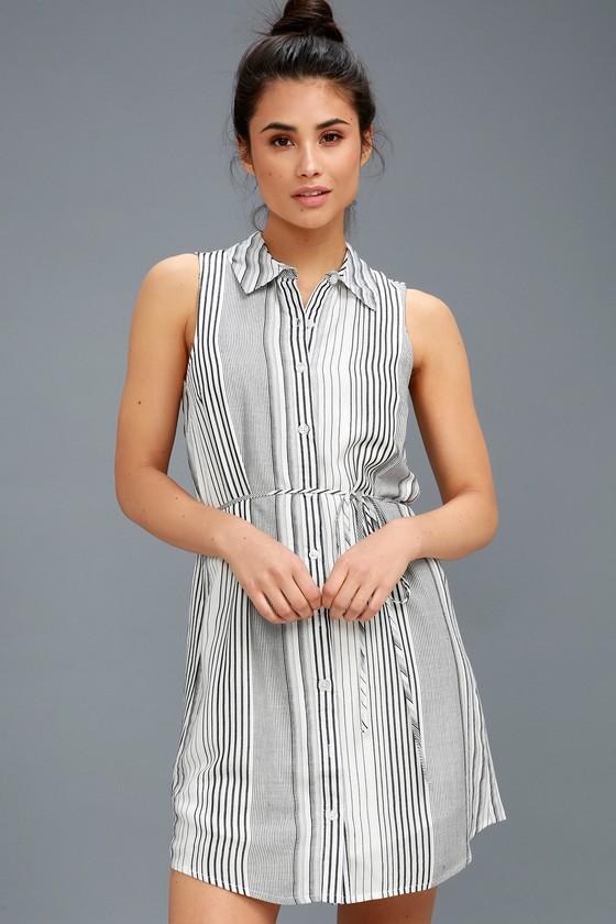 Cute Black and White Striped Dress - Sleeveless Shirt Dre