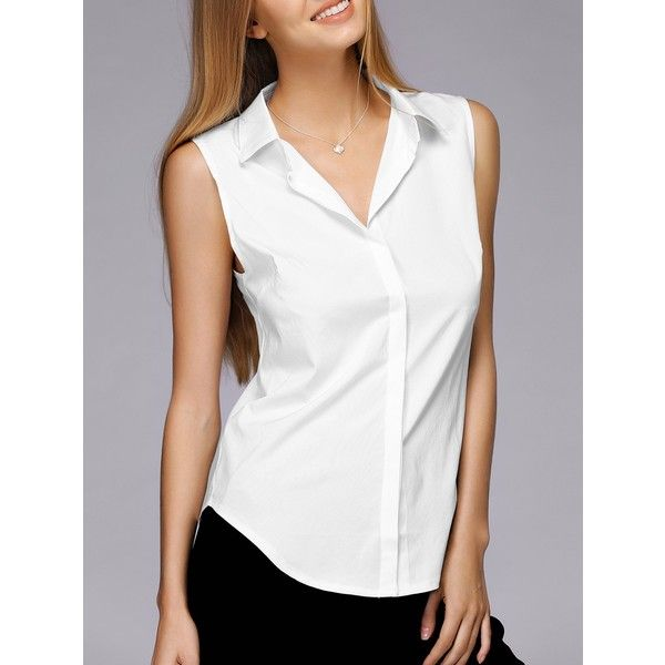 Simple Design Shirt Collar Sleeveless Solid Color Shirt For Women .