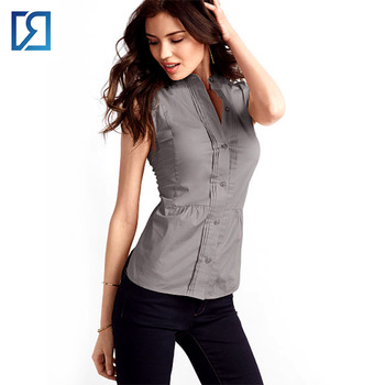 Women Stand Collar Button Down Pleated Overlap Sleeveless Shirt .