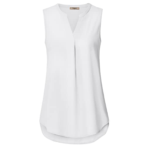 Women's White Sleeveless Top: Amazon.c