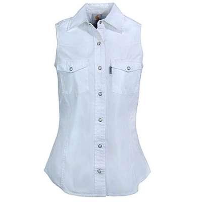 Carhartt WS004 Womens White Sleeveless Poplin Snap Front Shi