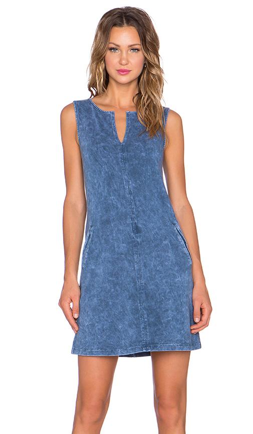 three dots Sleeveless Tunic Dress in Blue Jean | REVOL
