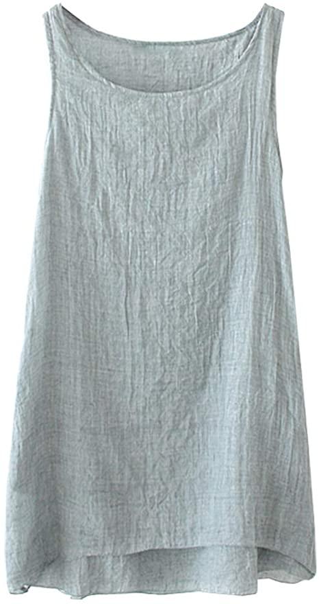 SCOFEEL Women's Summer Linen Tank Top Sleeveless Tunic Dress .