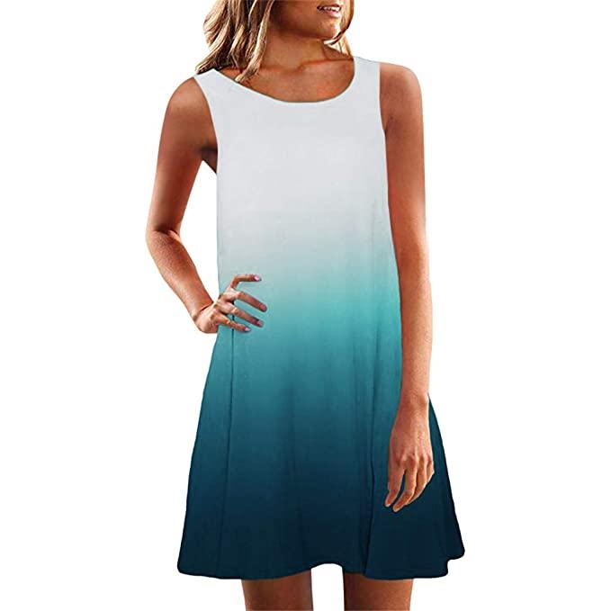 Amazon.com: Yxiudeyyr Women Tunic Dress Summer Sleeveless Crew .