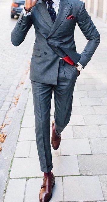 Men's Dark Gray Double Breasted Slim Fit Tuxedo Suit Wedding Suit .