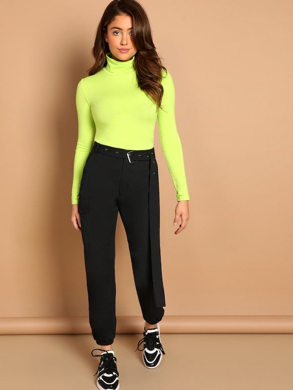 Neon Lime Turtleneck Slim Fitted Neon T-shirt -SHEIN(SHEINSIDE .