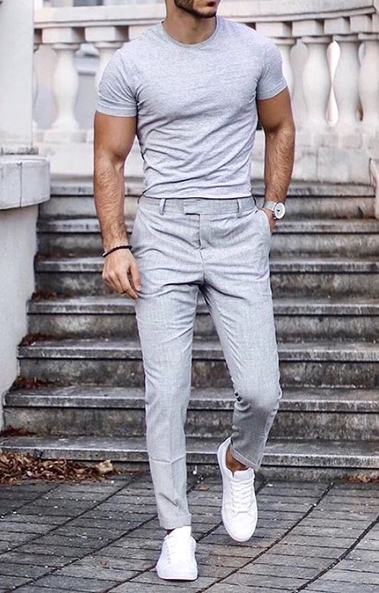 What a fun summer men's outfit! Great dress pants with a grey .