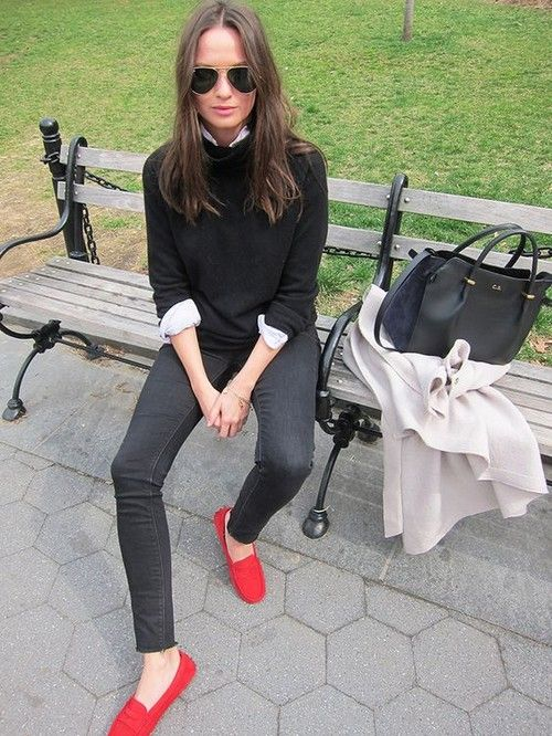 20 Looks with TODs loafers glamhere.com Red Loafers | Red shoes .