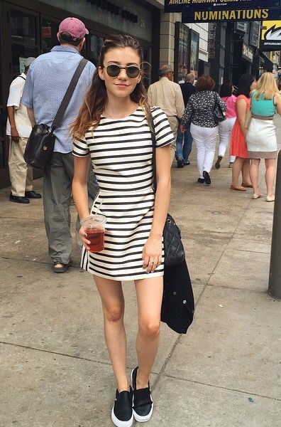 Adorable outfit! Black and white striped dress and perforated .