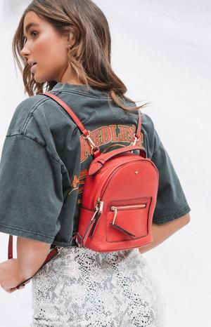 Peta & Jain Zoe Mini Back Pack Red Pebble | Small backpack purse .