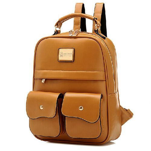 British Style Pure Color Backpack School Bag #womenfashion .