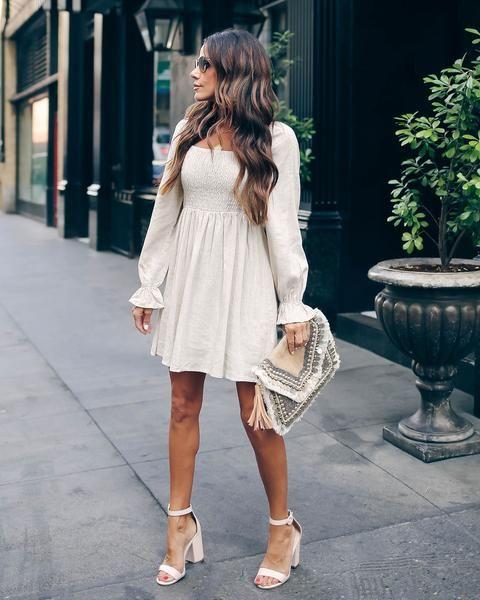 Anaheim Cotton + Linen Blend Smocked Dress | Dresses, Smocking .