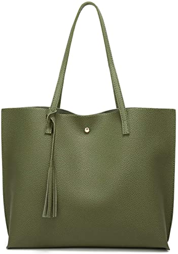 Amazon.com: Women's Soft Faux Leather Tote Shoulder Bag from .