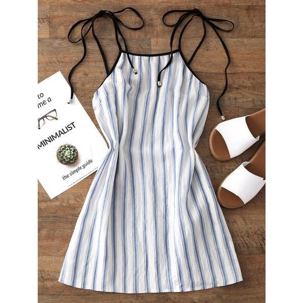 Shop ZAN.STYLE Women Stripe Mini Dress Casual Spaghetti Strap .