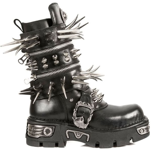 New Rock Style M.280-S1 Long Spike Boots (Black) ($415) ❤ liked .
