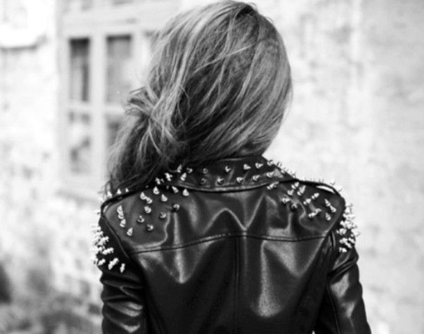 leather jacket tumblr style | Studded leather jacket, Spiked .