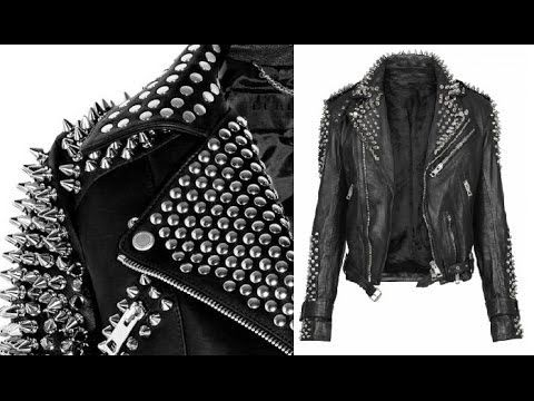 How to make a Studded and Spike Leather Jacket | Diy leather .