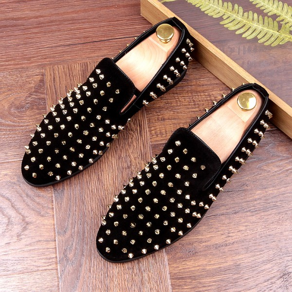 Black Gold Suede Spike Studs Punk Rock Mens Loafers Flats Dress .