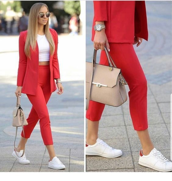 Red suit, white top and sport shoes | Fashionable work outfit .