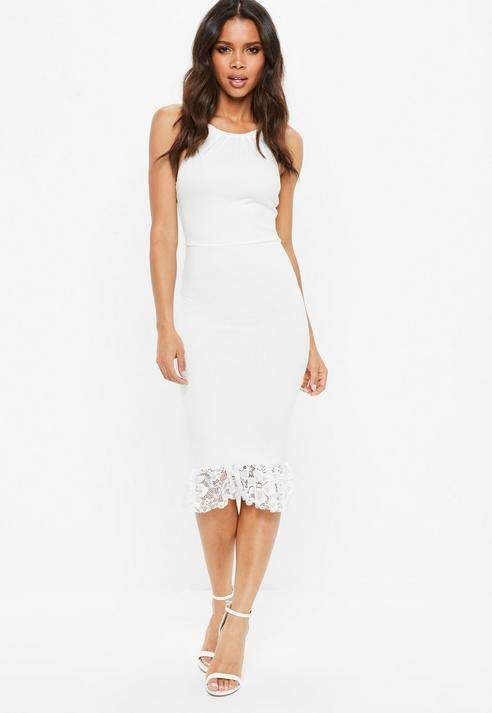 Missguided White Square Neck Lace Hem Bodycon Midi Dress | White .