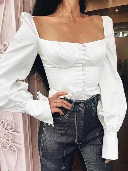 White Square Neck Tie Back Puff Sleeve Women Crop Shirt | Top .