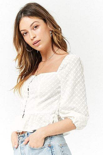 Eyelet Square-Neck Top | Forever 21 outfits, Square neck t