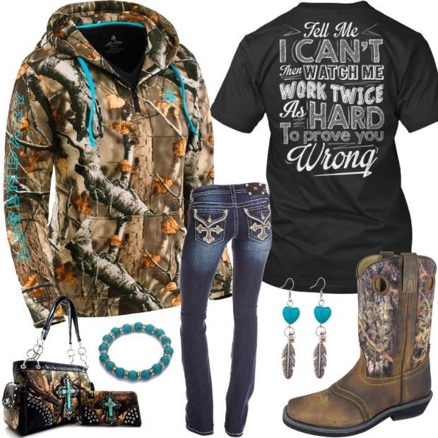 Tell Me I Can't Camo Square Toe Boots Outfit – Real Country Ladi