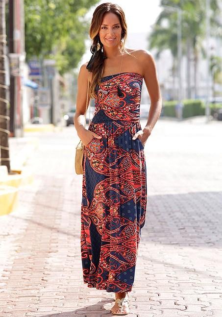 Paisley bandeau maxi dress | Resort dresses, Beach dresses .