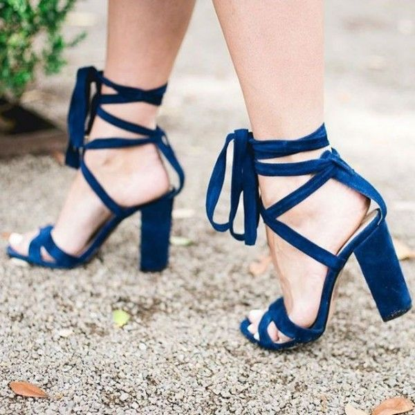 Women's Style Gladiator Sandals Royal Blue Chunky Heels Suede Open .