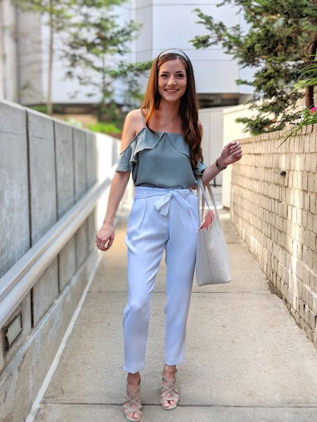 Summer Work Outfit Ideas: white tie-front pants, light green cold .