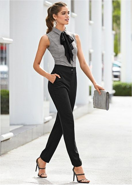 Black Multi Neck Detail Jumpsuit | Trends | Summer work outfits .