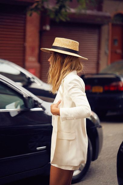 Hat, straw hat, tumblr outfit, tumblr, blazer, white blazer .