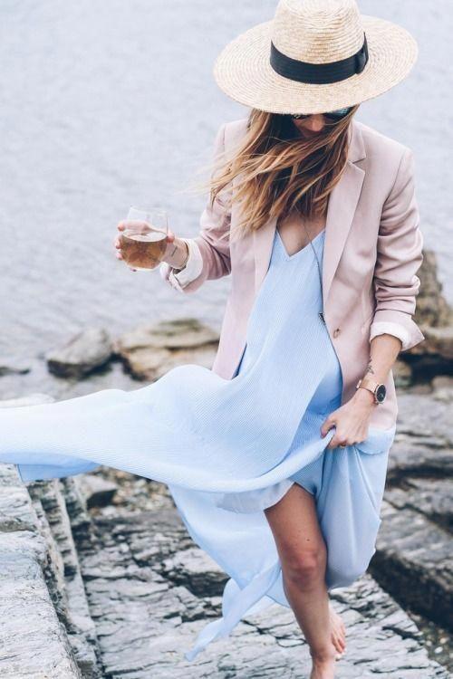 Classic blazer, sundress, straw hat, chic beach outfits, fashion .