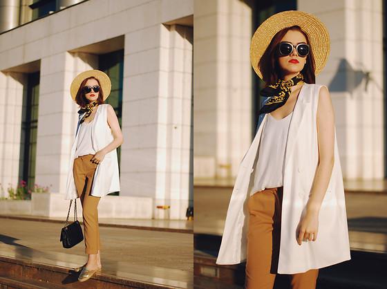 Andreea Birsan - Zaful Sunglasses, H&M Straw Hat, Vintage Neck .