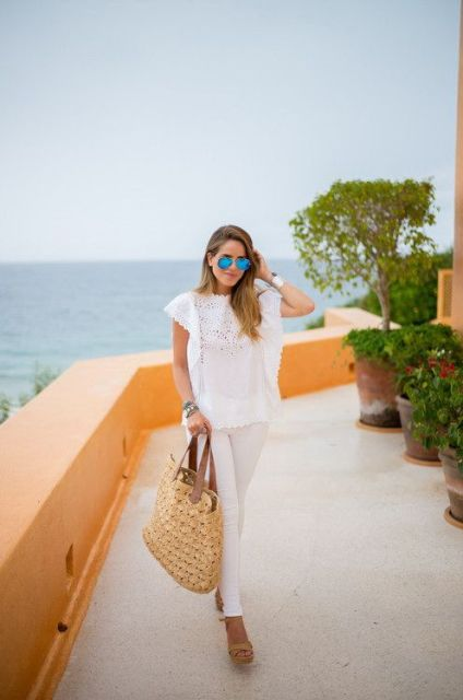 21 Relaxed Outfit Ideas With Straw Bags - Styleohol
