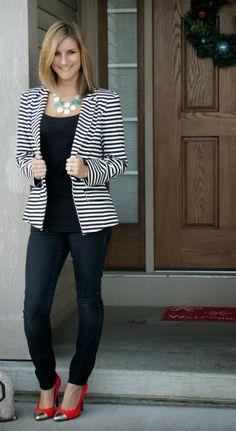 16 Best Striped Blazer Outfit images | Striped blazer, Striped .