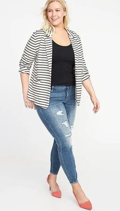 Plus Size Striped Blazer - Plus Size Fall Outfit Idea - Plus Size .