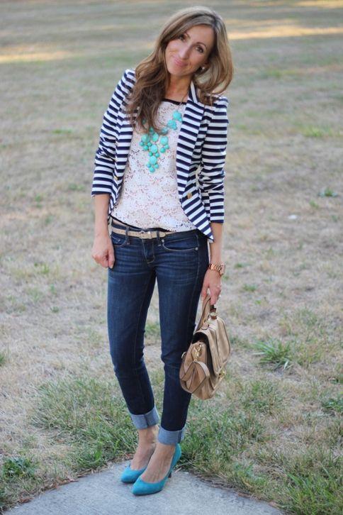 stripes never get old | Fashion, Striped blazer, Striped blazer outf