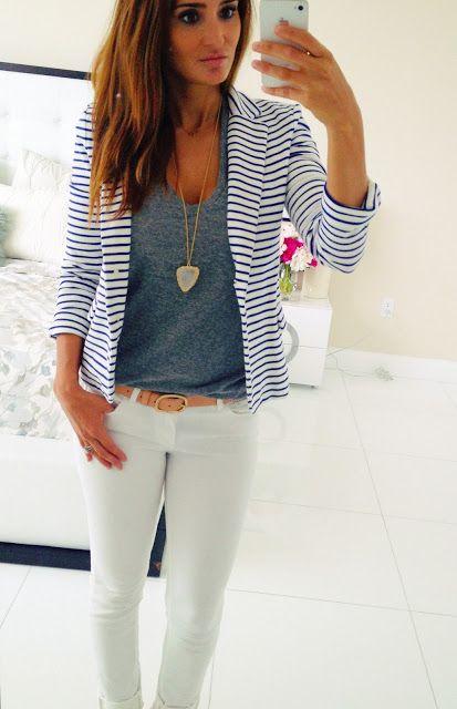 Pin by Pia Reinhold on Stitch Fix Ideas | Fashion, Striped blazer .